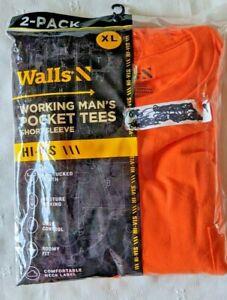 Walls Working Man's Pocket Tees Hi-VIS NEON ORANGE 2-Pack Short Sleeve Size XL