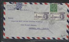 ST LUCIA COVER (PP1211B)  KGVI 1/2D+ PEACE 1DX2 A/M COVER TO CANADA