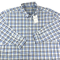RM Williams Men's Long Sleeve Blue Check Shirt Collins 5XB NEW NWT RRP $139