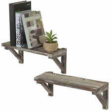 Torched Wood Wall-Mounted Storage Display Shelves with Wooden Brackets, Set of 2