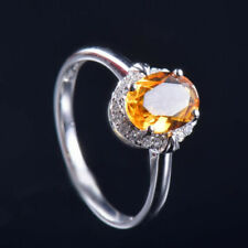 Thanksgiving Resizable Natural Diamond Yellow Citrine Women Ring 14K White Gold