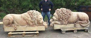 Lions Unique Pair Huge Impressive Canova's style Marbled Lions Original Masters