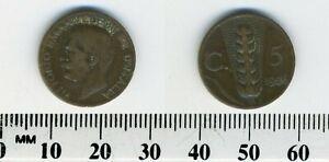 Italy 1926 - 5 Centesimi Bronze Coin - King Vittorio Emanuele III - Wheat ear