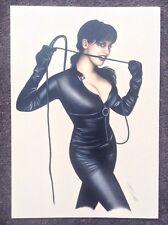 Nude Original Art Erotic Pinup Fantasy Female Catwoman Beautiful Sexy Model Whip