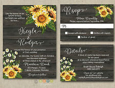 100 Personalized Rustic Sunflower Wedding Invitations Rustic Wood with Envelopes