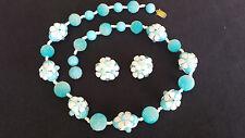 "Awesome Vintage Blue Gumdrop/Flower Bohemian Necklace & Earrings Set - 23"""
