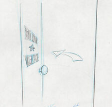 Road Runner Wile E Coyote dressing room door production layout drawing Warner a