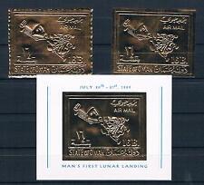 Oman; spaziale, Apollo 11; oro-marchio Tréfilunion. + geschn. + blocco, completamente **