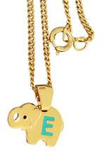 Anhänger Elefant Buchstabe E Kinderkette und Anhänger Gold pl Panzerkette pl