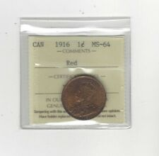 **1916**,ICCS Graded Canadian, Large One Cent, **MS-64**