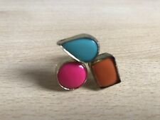 New Look Gold Turquoise Pink And Orange Gem Ring