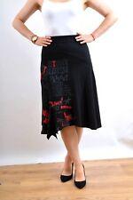 Desigual Black Red Embroidered la vida es chula Sex passion S/M 100% Cotton NICE