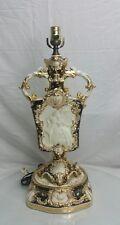 Antique 18th Century Capodimonte Victorian Couple Cherubs Porcelain URN Lamp