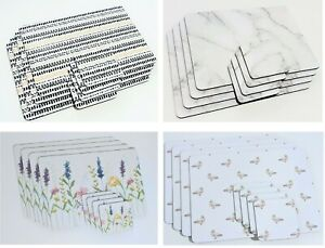 Set of 4 Marble Effect Geometric Table Placemats Coasters Dining Cork Mats