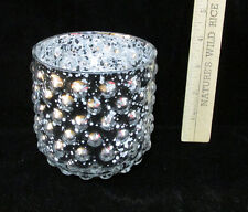 Round Glass Candle Holder Vase Cup Hobnail Bubble Design in Speckled Silver