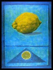 Madjid Zitrone Poster Bild Kunstdruck mit Alu Rahmen in schwarz 80x60cm