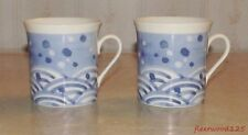 "2 Mikasa Bone China ""Celestial"" A7712 Coffee Cups Mug Japan / Blue White"