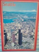 VINTAGE POST CARD  AERIAL VIEW OVER  THE CITY OF SEATTLE  WASHINGTON