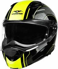 Vemar Sharki Hive Flip Up Front Motorcycle Motorbike Helmet Gloss Black / Yellow