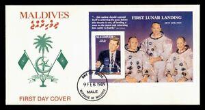 DR WHO 1989 MALDIVES FDC JOHN F KENNEDY JFK SPACE S/S  f67443