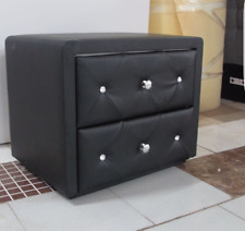Leather bedside tables ebay 2 x pu leather bedside tables with crystals with 2 drawers black or white watchthetrailerfo