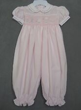 Carriage Boutiques Friedknit Creations 6 M Girl Smocked Bubble Romper Pink Birds