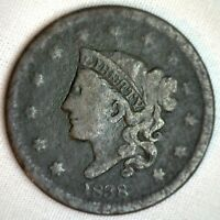 1838 Coronet Large Cent US Copper Type Coin Good Genuine USA Penny 1c