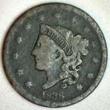 New listing 1838 Coronet Large Cent Us Copper Type Coin Good Genuine Usa Penny M4