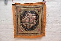 Antique Vintage Burmese Kalaga Tapestry Wall Hanging 24x24 Textile Beaded Fabric