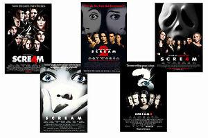 SCREAM FILMS - SET OF 5 - A4 FILM POSTER PRINTS # 1