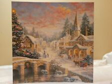 Holiday Christmas Seasonal Card Snowy Village Greeting Gift Post Vintage