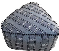 Linen Connections Grey Triangular Ottoman Pouffe Pouf Cover Beanbag FREE POSTAGE