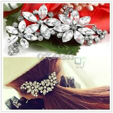 Fashion Shiny Full Crystal Flower Petal Barrette Rhinestone Hair Clip HairPin