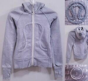 Lululemon SCUBA Gray White Striped Zipper Jacket Size 2 XXS Sweater Yoga Hoodie