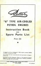 PETTER ENGINE - A TYPE PETROL OPERATORS MANUAL WITH PARTS LIST -GTC8A *ORIGINAL*