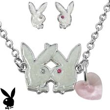 Playboy Jewelry Set Necklace Earrings Heart Kissing Bunny Silver Platinum Plated