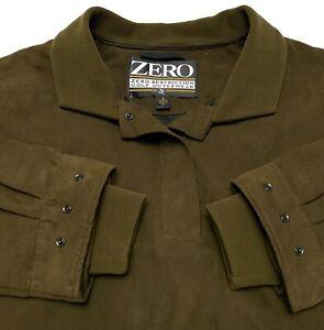 B36 Zero Restriction Olive Green 100% Microfiber Long Sleeve Pullover Mens L
