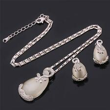 Opal Jewellery Set Platinum Plated Austrian Rhinestone Water Drop Style