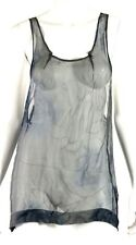 DRIES VAN NOTEN Gray & Blue Floral Sheer Silk Sleeveless Tank Blouse M