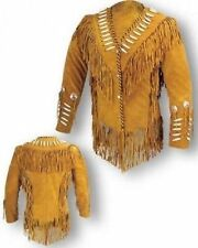 Womens 80's Style Suede Leather  Western Wear Cowboy Fringe Bead Bones Jacket
