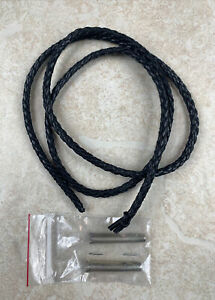 Black Leather Bolo Tie Cord & Beaded Sterling Silver Tips