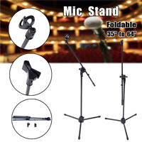 Foldable Tripod 360-degree Rotating Microphone Stand Boom Arm w/Dual Mic Clip