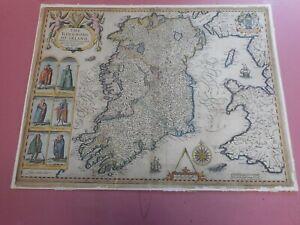 100% ORIGINAL LARGE IRELAND MAP BY JOHN SPEED C1651 EDITION  HAND COLOURED