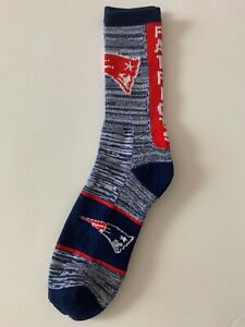 New England Patriots Adult Socks- 1 Pair- Large - Brand New Free Shipping (A1)