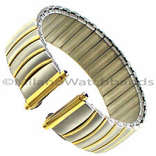 18-22mm Morellato Stainless Two Tone Twist-O-Flex Curved Lines Design Watch Band