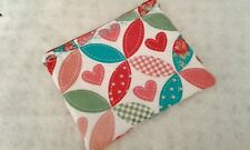 Hearts Carry All Zipper Pouch Gift Bag Phone Wallet Coin Purse Handmade Roses