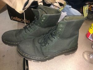 Doc Martens Canvas Solid Green Boots Size 11