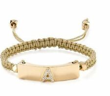 "CATHERINE STEIN CO. GOLD BRAIDED ADJUSTABLE BRACELET WITH CRYSTAL STONE ""A"""