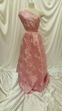 Pink Jacquard Floral Flowers Brocade Fabric By The Yard Dress Gown Fashion