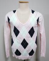 Tommy Hilfiger Womens Pima Cotton Long Sleeve Argyle Front V Neck Sweater Size M